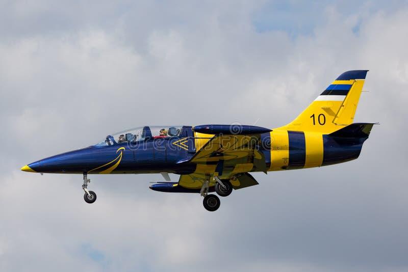 Estonian Air tvingar flygplan för instruktören för den Eesti Ohuvagi Aero L-39C albatrossstrålen royaltyfria bilder