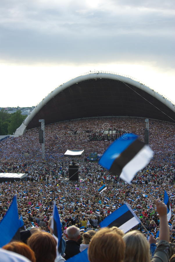 Estonian flags and crowd in Song Festival royalty free stock photography