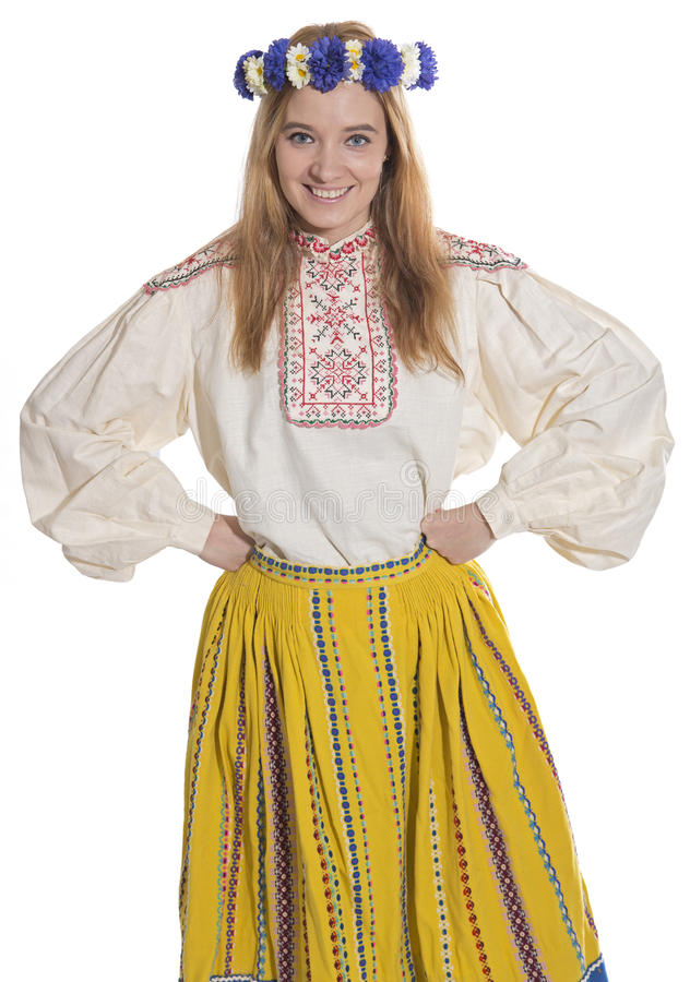 Estonian folk clothing. Woman wearing Estonian folk clothing royalty free stock images