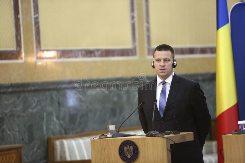 Estonian Prime Minister Juri Ratas. BUCHAREST, ROMANIA - May 24, 2017: Estonian Prime Minister Juri Ratas speaks during the joint press conference with Romanian royalty free stock images