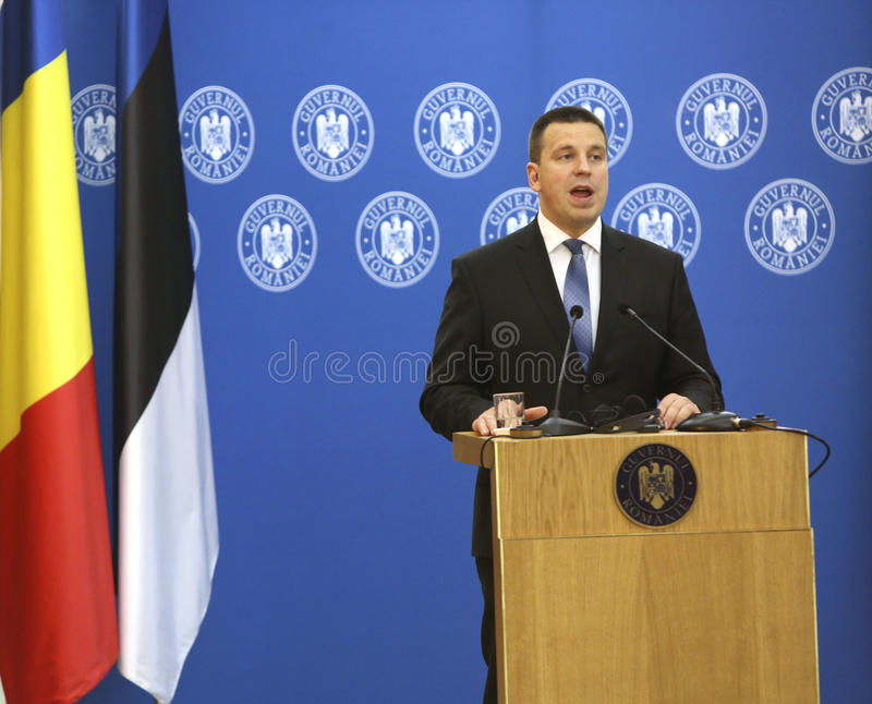 Estonian Prime Minister Juri Ratas. BUCHAREST, ROMANIA - May 24, 2017: Estonian Prime Minister Juri Ratas speaks during the joint press conference with Romanian stock image