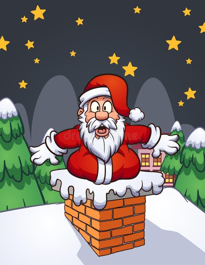 Estoque chocado gordo de Santa Claus dos desenhos animados na chaminé ilustração do vetor