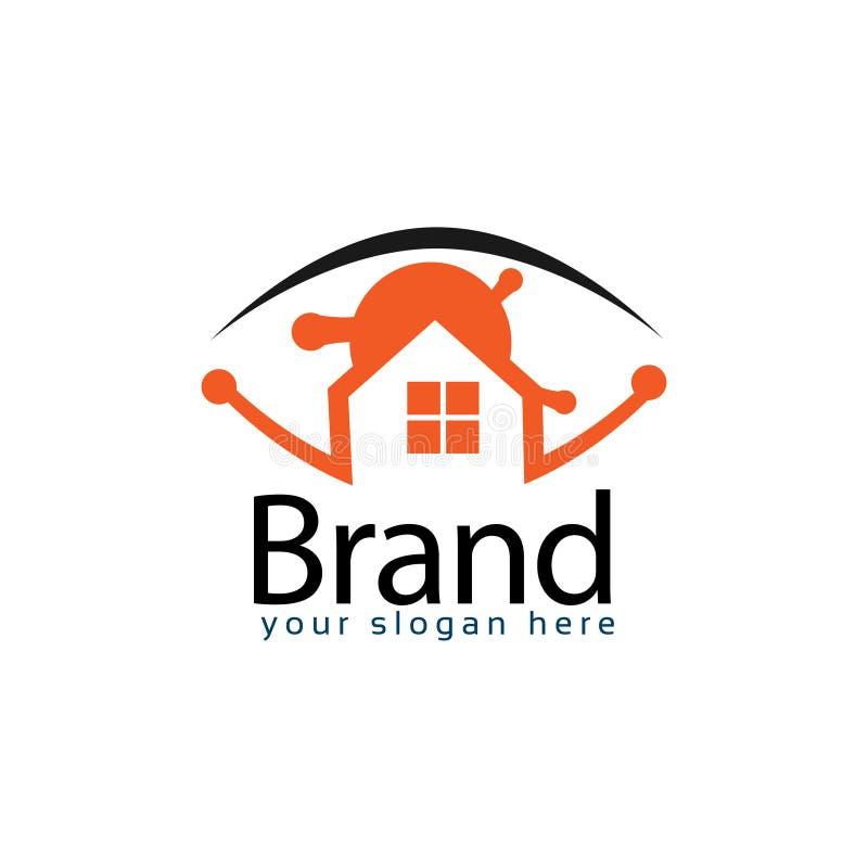 Estoque do logotipo da casa dos olhos, projeto liso Conceito de uma ferramenta para controlar a casa ilustração do vetor