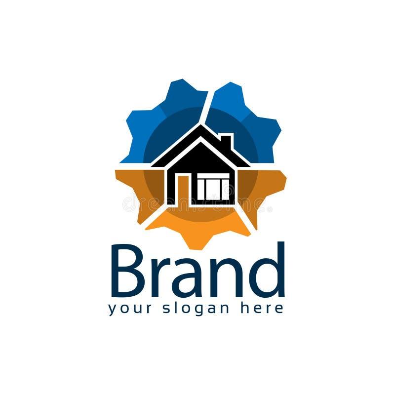 Estoque do logotipo da tecnologia da casa, projeto liso Ilustra??o do vetor no fundo branco ilustração stock