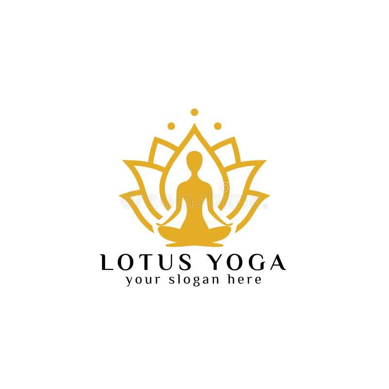 estoque do projeto do logotipo da ioga meditação na ilustração da flor de lótus ilustração stock