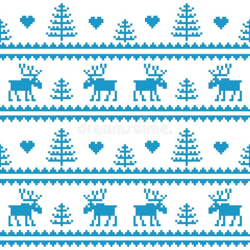 estoque Tela sem emenda Feliz Natal e ano novo feliz alces Árvore pixels Cor branca e azul ilustração royalty free