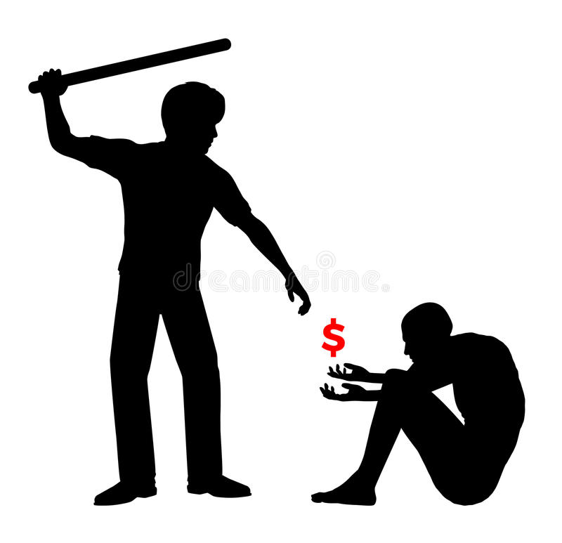 Estorca i soldi nell'ambito delle minacce illustrazione vettoriale
