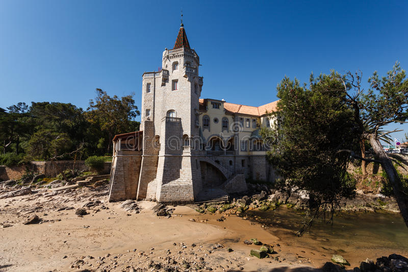 Download Estoril, Portugal Beach With Beautiful Luxury Home With Castle Tower Stock Photo - Image: 28204118