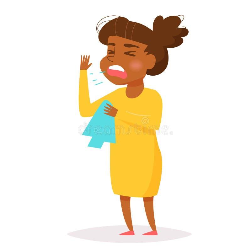 Estornudos africanos de la mujer stock de ilustración