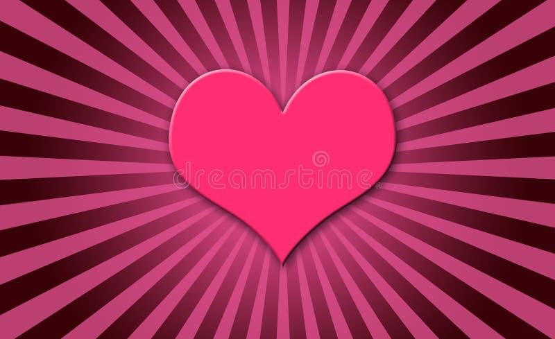 Estouro cor-de-rosa do sol do coração ilustração stock