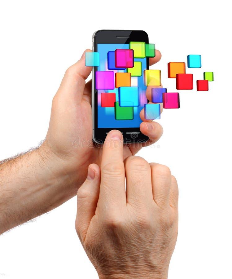 Estouro dos ícones de Smartphone fotografia de stock royalty free