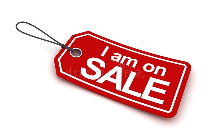 Estoy en la etiqueta de la venta, 3d rindo stock de ilustración