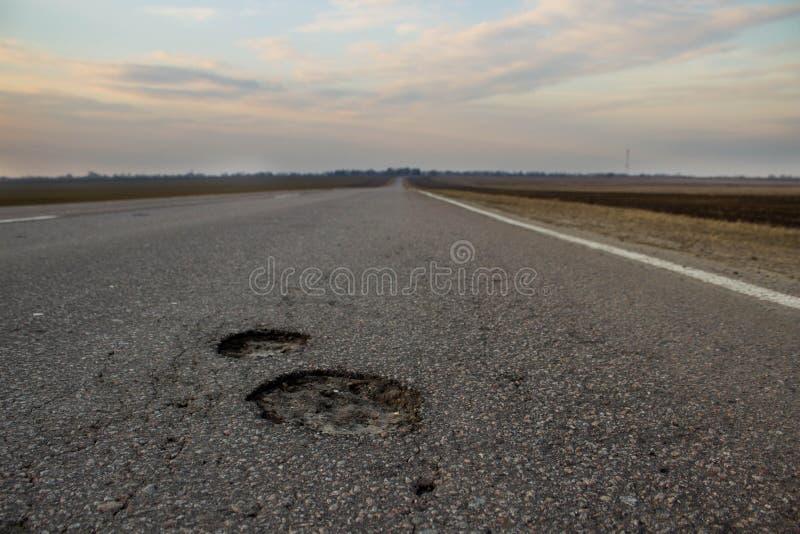 A estrada à aspereza de Rússia c: os dois poços Vista do campo e da estrada imagens de stock royalty free