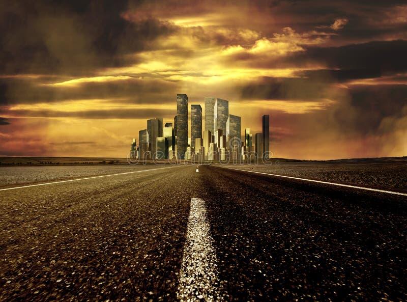 Estrada à cidade foto de stock