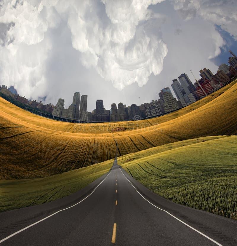 Estrada à cidade ilustração do vetor