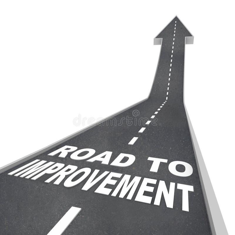 Estrada à melhoria - palavras na rua ilustração stock