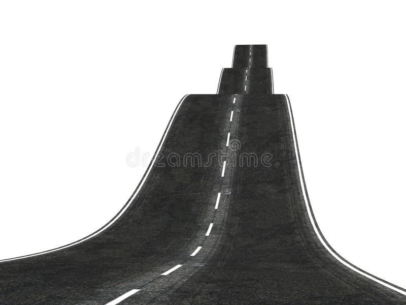 Estrada 3d ondulada que desaparece sobre o horizonte ilustração stock