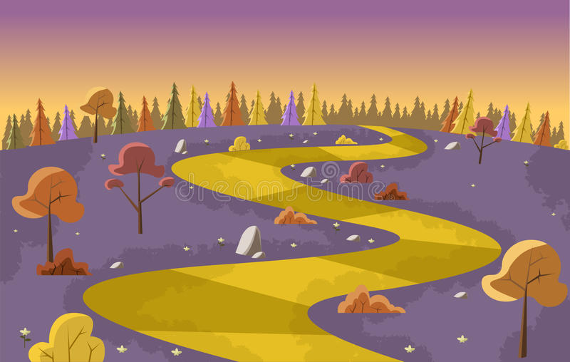Estrada amarela ilustração royalty free