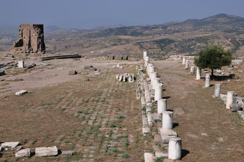 Estrada antiga na cidade do grego clássico de Pergamon ou de Pergamum em Aeolis, agora perto de Bergama, Turquia imagens de stock royalty free