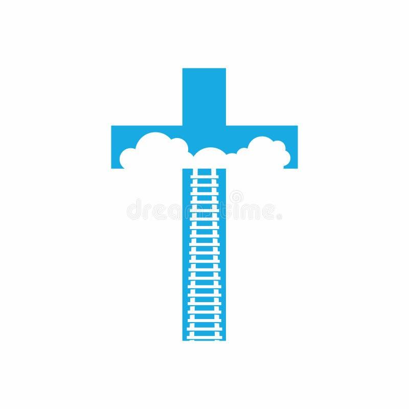 A estrada ao céu somente através da cruz de Jesus Christ Stairway ao céu ilustração royalty free