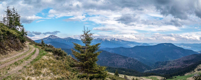 A estrada ao cume de Chornohora fotografia de stock