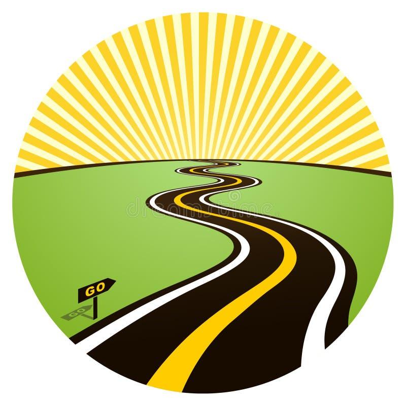 Estrada ao horizonte solar ilustração stock