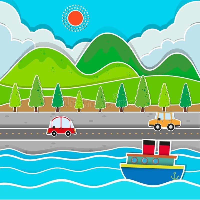 Estrada ao longo da cena do rio ilustração stock