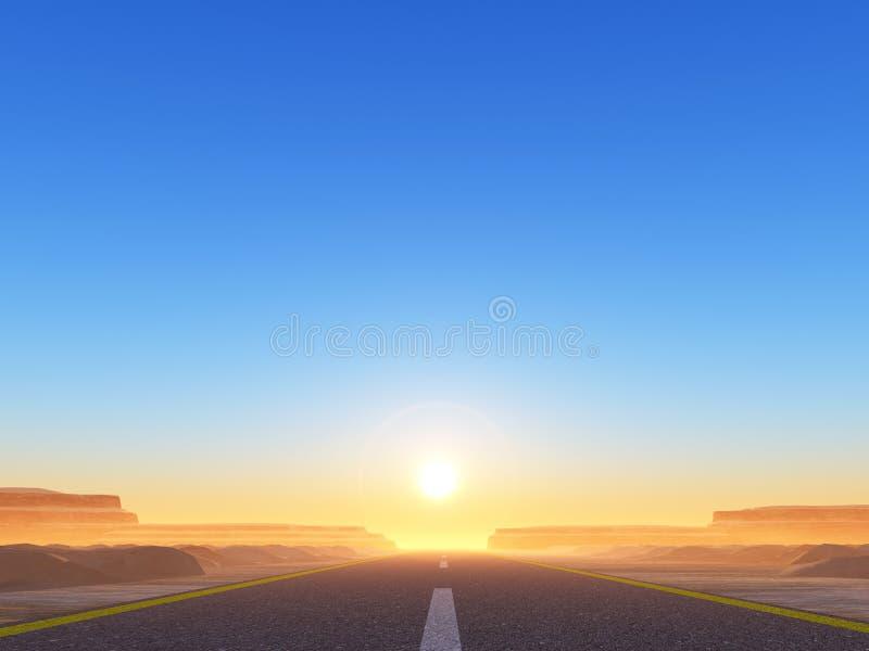 Estrada ao sol ilustração do vetor