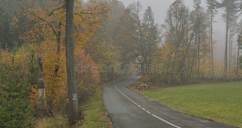 Estrada asfaltada agradável no dia enevoado escuro perto da cidade de Luhacovice em Moravia foto de stock