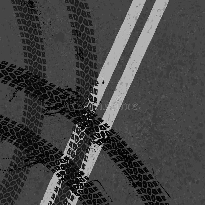 Estrada asfaltada com trilhas do pneu ilustração royalty free