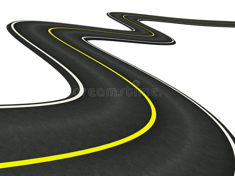 Estrada asfaltada curvada ilustração stock