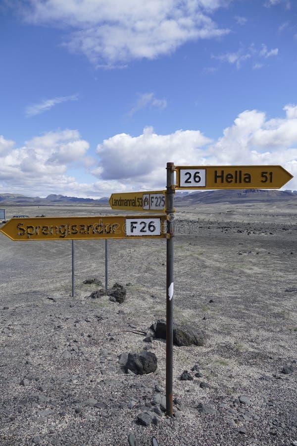 A estrada assina dentro o deserto de montanhas de Islândia imagens de stock royalty free