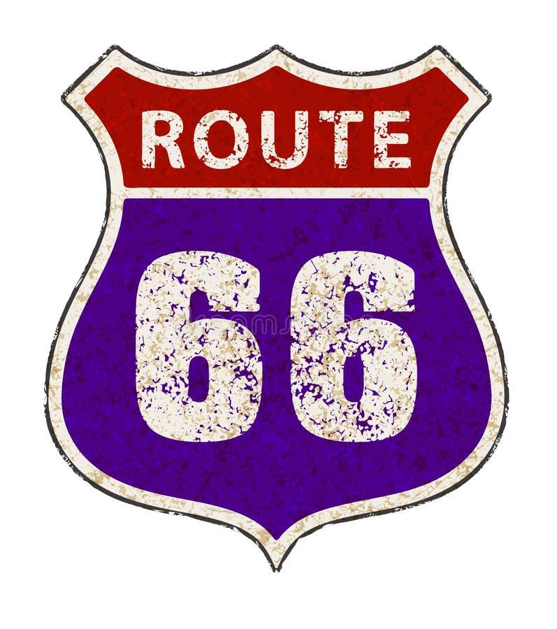 A estrada assina dentro o estilo do grunge do vintage Estrada 66 sessenta e seis VE sujas ilustração royalty free