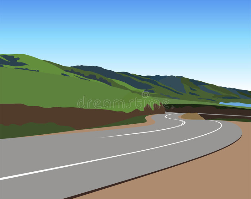 Estrada através das montanhas ilustração stock