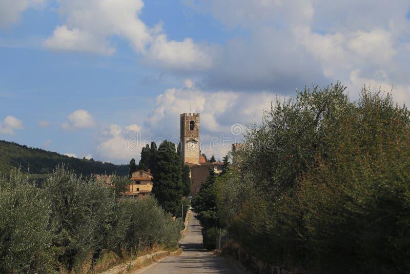 Estrada a Badia di Passignano, Itália fotos de stock royalty free