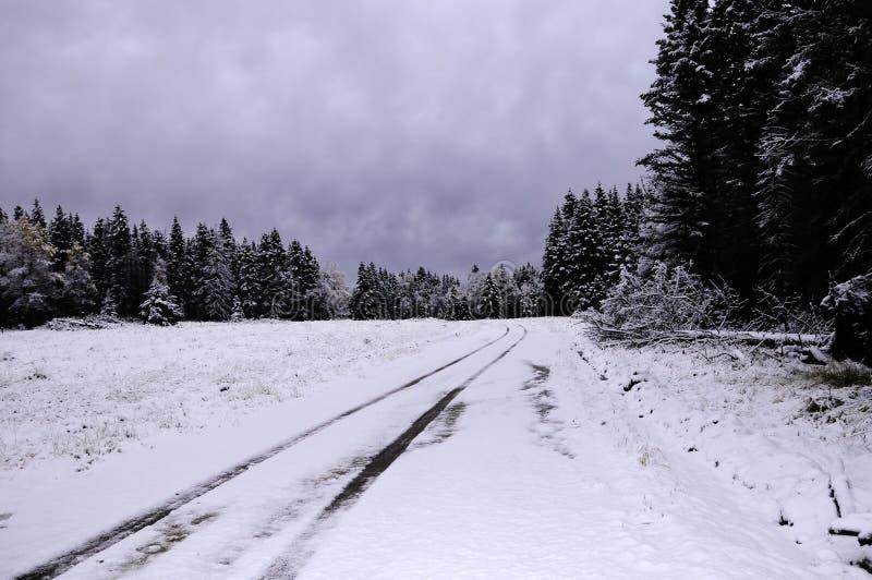 Estrada coberto de neve fotografia de stock royalty free