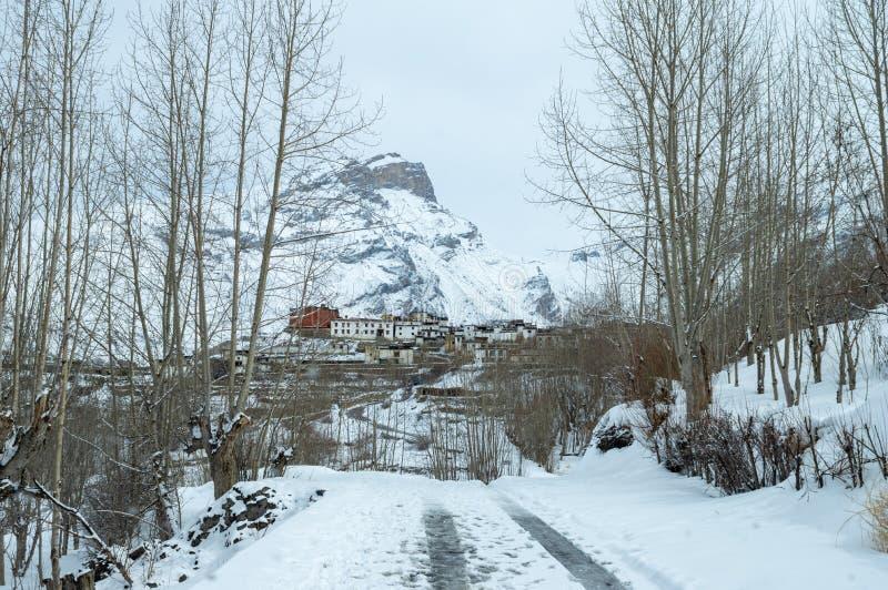 Estrada coberto de neve da montanha fotos de stock