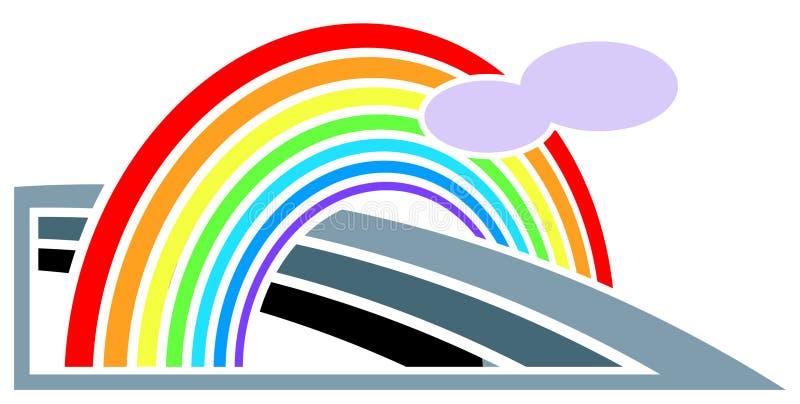 Estrada com arco-íris ilustração stock