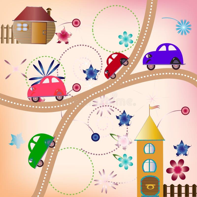 Estrada com carros da cor, estilo das crianças ilustração royalty free