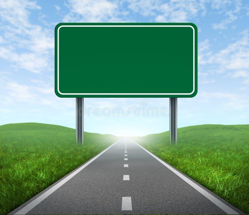Estrada com sinal da estrada ilustração do vetor