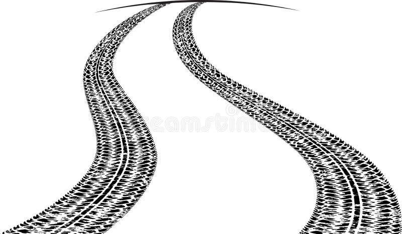 Estrada com traços de pneus e uma linha de horizonte Rebecca 36 ilustração stock