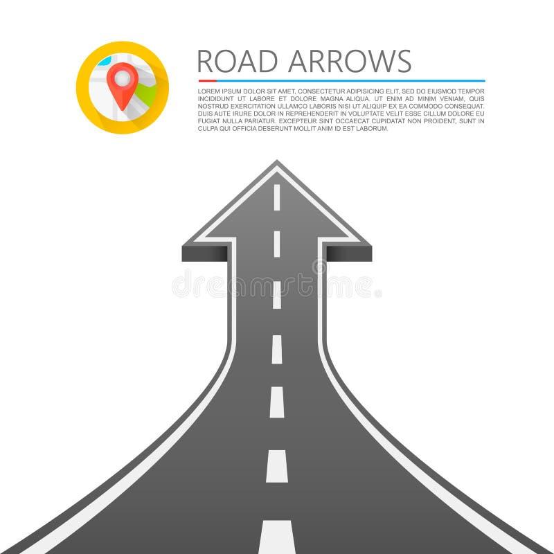 Estrada com uma seta acima ilustração stock