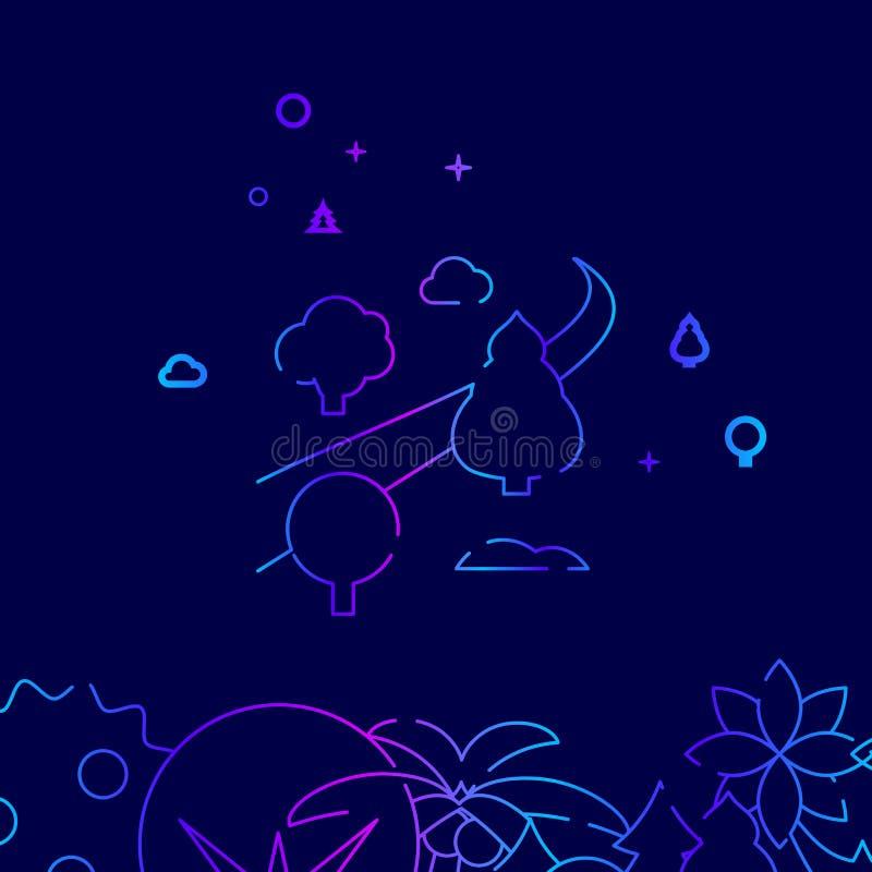 Estrada curvada da curvatura com linha ícone do vetor das árvores, ilustração em um escuro - fundo azul Beira inferior relacionad ilustração stock