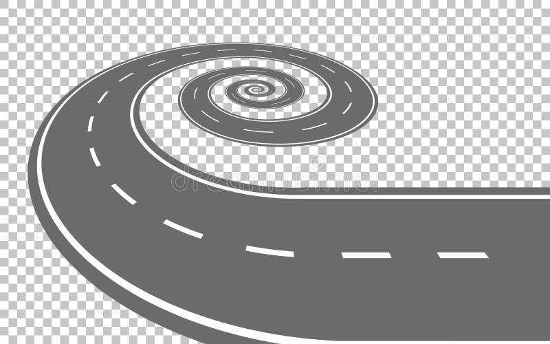 Estrada curvada infinita no fundo transparente ilustração stock
