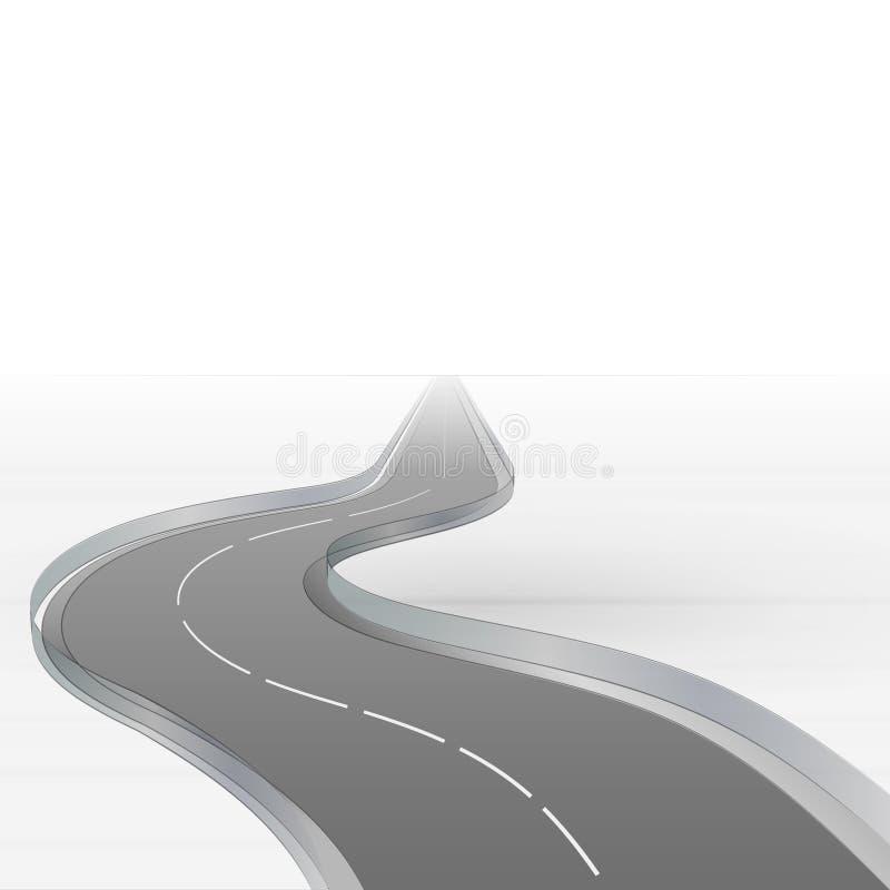 Estrada curvada que desaparece na névoa  ilustração royalty free
