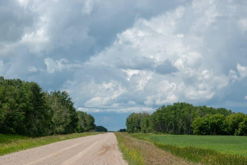 Estrada da escala e terra de exploração agrícola rurais, Saskatchewan, Canadá foto de stock royalty free