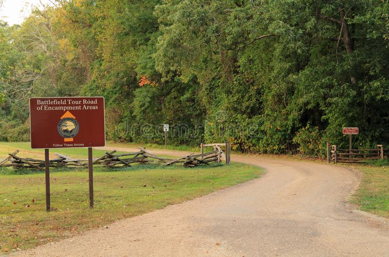 Estrada da excursão do campo de batalha de Yorktown auto fotografia de stock