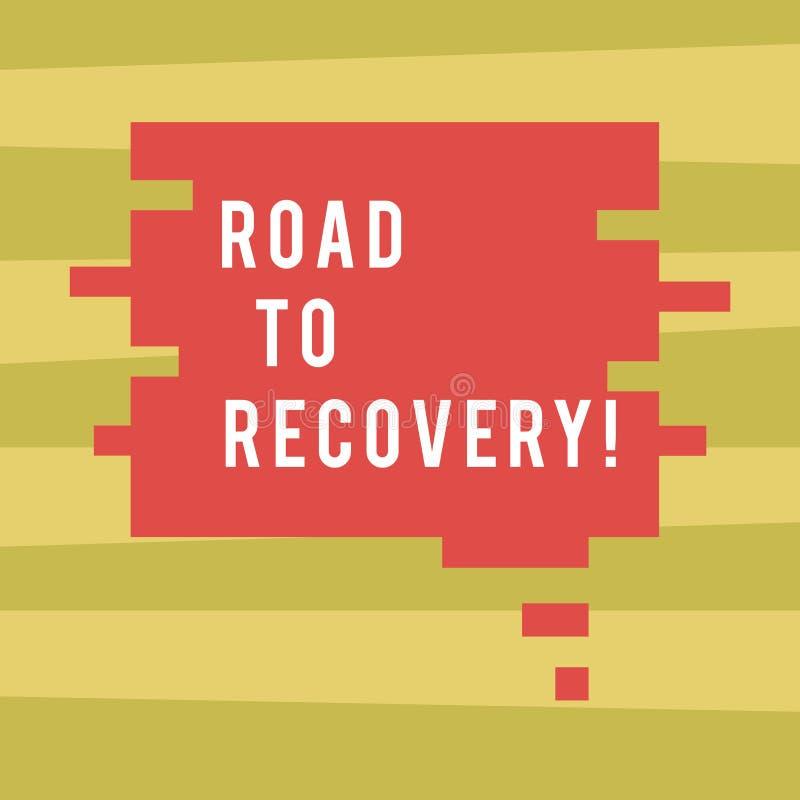 Estrada da exibição do sinal do texto à recuperação Maneira da foto ou processo conceptual de tornar-se saudável outra vez com co ilustração do vetor