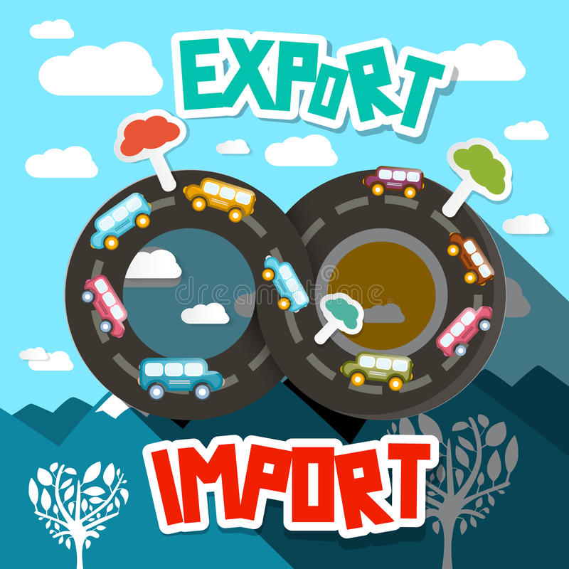 Estrada da infinidade da importação da exportação com paisagem abstrata ilustração stock