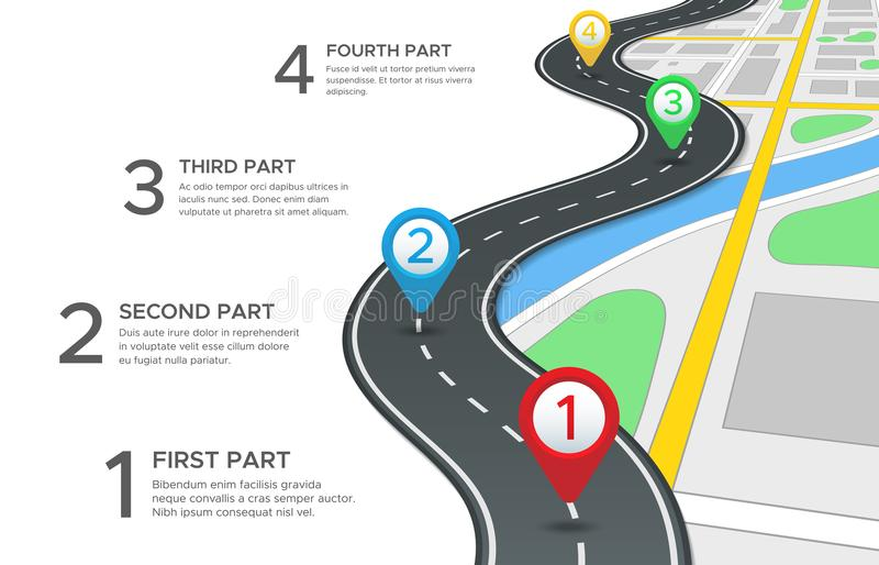 Estrada da estrada infographic O mapa de estradas da rua, o trajeto da maneira da navegação dos gps e a viagem da cidade fixam o  ilustração do vetor